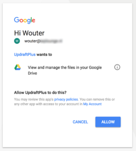 Allow UpdraftPlus to access Google Drive
