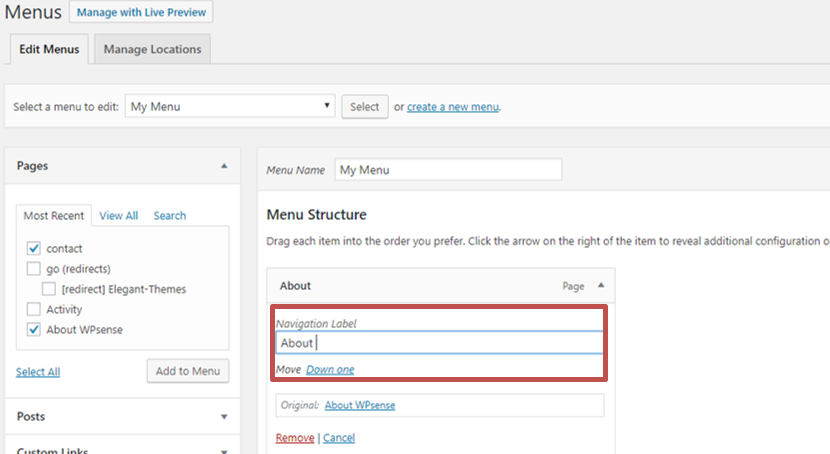 How to build a menu in WordPress_Change Name